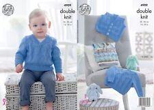 "King Cole DK  Knitting Pattern 4909: Slipover, Sweater & Waistcoat 14""-22"""