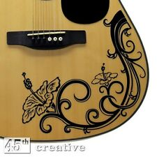Hibiscus Flower Guitar Graphic Decal - full size dreadnought acoustic guitar