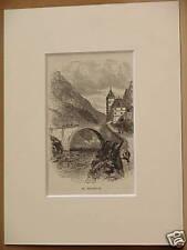 ST. MAURICE ABBEY VALAIS SIMPLON ANTIQUE ENGRAVING 1890