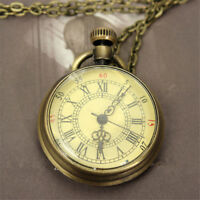 Vintage Antique Bronze Glass Steampunk Pocket Watch Chain Necklace Pendant Gifts