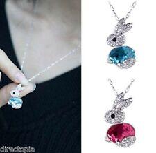 Collar Colgante de Cristal Bunny Conejo Azul Rosa Joyería Y Mini Bolsa De Regalo