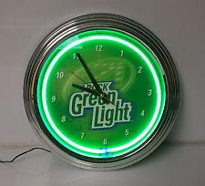Neon Clock Rock Green light Beer Rolling Rock Brewery Man Cave Bar Liquor