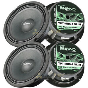 "4 Pack Timpano 6.5"" Mid Range Speakers 200W Max 4 Ohm Slim Basket TPT-MR6-4 SLIM"