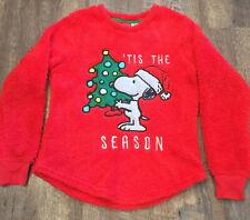 Peanuts Snoopy Tis The Season Ugly Christmas Sweater Furry Fuzzy Red Sz XS