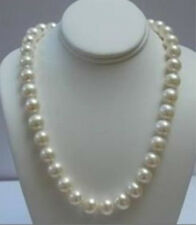 """Beautiful! Natural 9-10MM White Akoya Pearl Necklace 18"""" 14K Gold Clasp AA"""