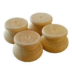 SET OF FOUR Large Wooden Pine Furniture Moulded Bun Feet, 83mm Dia.