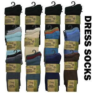 12 Pairs Mens Soft Organic Bamboo Dress Casual Socks Non Elastic Diabetic 6-11