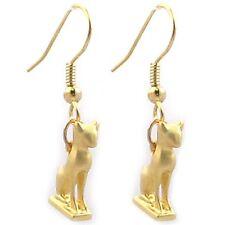 "Gold-Plated Egyptian Goddess Bastet Tiny Cat Earrings Charm 0.50"" Drop 1.25"""