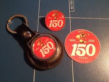 Winchester Guns/ Firearms '150 Years of Winchester' Leather Key Ring & Badge Set