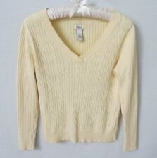 Bass light yellow cable front 100% cotton v-neck long sleeve sweater *Sz S*