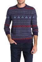 Original Penguin Men's Wool Blend Holiday Fairisle Sweater Blue Size Large L
