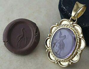 Intaglio natural Ametist Ancient Silver Pendant Vintage-Antique ROMAN-RARE
