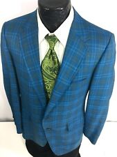 Vtg 50's Penneys Towncraft BLUE CHECK Sport Coat ROCKABILLY Jacket SILK Blazer