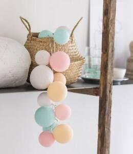 Original Cotton Ball Lights 20er Lichterkette Netzteil Lovely Sweets Pastell