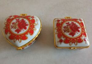 2 Beautiful Vintage Oriental Trinket Pill Jewelry Boxes Florals