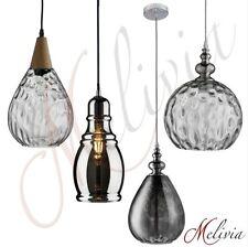 Lampe suspendue VERRE TRANSPARENT GRIS NOIR CHROME Luminaire vintage rétro bois
