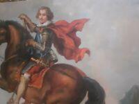 Quadro Dipinto a Mano Olio Su Tela scena uomo cavaliere 60x90 con telaio unico