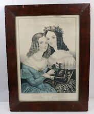 Framed ART Hand Color Lithograph Which Of Us Will You Marry? J. Baillie 1849 NY