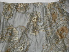 "Chaps QUEEN Blue Gray Paisley Floral Bedskirt Dust Ruffle Floral 15"" Drop"
