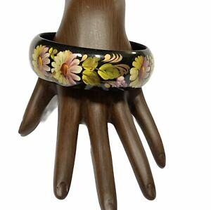 Floral Bangle Bracelet Hand Crafted Painted Ukrainian Flower Black Wood Signed