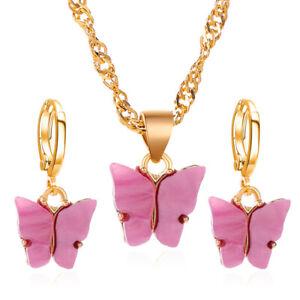 Fashion Women's Butterfly Acrylic Choker Necklace Pendant Earrings Jewelry Set