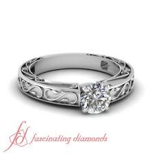 3/4 Carat Round Diamond Vintage Engraved Solitaire Engagement Rings In Platinum