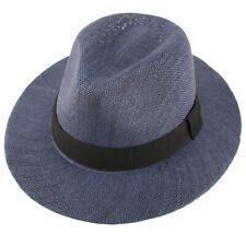 """Unisex Summer Light Panama Derby Fedora Wide 2-3/8"""" Brim Hat Adjustable Navy"""
