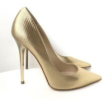 JIMMY CHOO ANOUK GOLD METALLIC EMBOSSED STRIPED LEATHER HIGH HEELS PUMPS 38