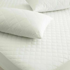 LUXURY QUILTED MATTRESS PROTECTOR COVER 100% POLY COTTON  FITTED BED TOPPER