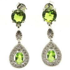Fancy Green Peridot White CZ Ladies Party Silver Earrings