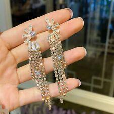 18K Gold Sunflower Earrings Tassel Long Drop Dangle Women Party Jewelry Gifts