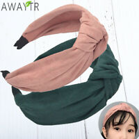 Women Wide Knotted Headband Suede Hair Band Fashion Solid Color Hair Accessories