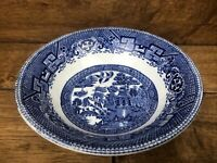 Vintage Staffordshire England Ye Olde Willow Blue & White 7.75 Inch Soup Bowl