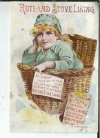 BB-242 MI, Detroit, Rutland Stove Lining Victorian Trade Card Girl in Basket