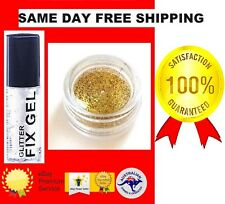 FINE GOLD PRO GLITTER DUST  POWDER EYE SHADOW FACE BODY NAILS+CLEAR FIX GEL(114*