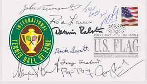SIGNED LEGENDS OF TENNIS FDC AUTOGRAPHED FIRST DAY COVER (9 SIGS) HOF