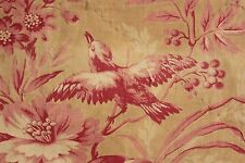 Fabric antique French pink bird AGED  printed cotton material 1850