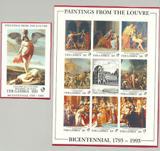 Gambia #1352, 1355  Paintings from the Louvre 1v M/S of 8 & 1v S/S Imperf Proofs