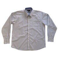 BOSIDENG Men's Shirt Size 2XL Blue And Beige Check Long Sleeve Casual Shirt