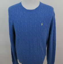 Polo Ralph Lauren Lambswool Cable Knit Blue Yellow Pony Crewneck Sweater Large