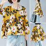 ZANZEA 8-24 Women Long Sleeve Top Tee T Shirt Ruffle Frill Peplum Floral Blouse