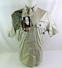 Mossy Oak Men Shooter Shirt New Size Large Tan Khaki Camo NWT Embroidered