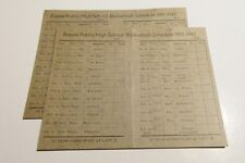 VINTAGE 1941 BREESE HIGH SCHOOL BASKETBALL SCHEDULE CLINTON CO. HISTORY LOT OF 2