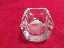 "Crystal/Glass Ashtray,very heavy, thick glass 4"" x 3.25"" Geometric shape Vintage"