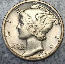 1936 P 90% SILVER Mercury Dime  Great Detail *Ck Photos *FREE SHIPPING