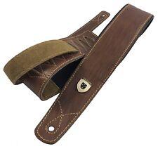 "Genuine Leather Soft Padded Light Brown ""SLIM Supreme"" SCRIPT Guitar Strap"