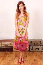 Vintage Rosa Naranja Y Verde Vestido de cambio de estado de cuenta Estampado De Flores Boda Carreras