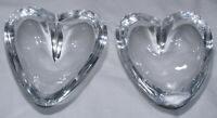 2 Vtg Swedish Lead Crystal Heart Shaped Pin Dishes Clear Hand Blown MCM 1960s