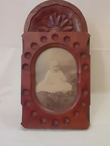 Antique ESTATE FIND c.1890s Folk Art Deep Carved Wood  Photo Picture Frame