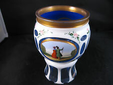 Bohemian Glass Hand Painted Chalice white cut to Blue cut to clear